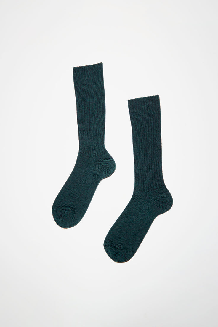 Image of Maria La Rosa Extrafine Merino Ribbed Sock in Green