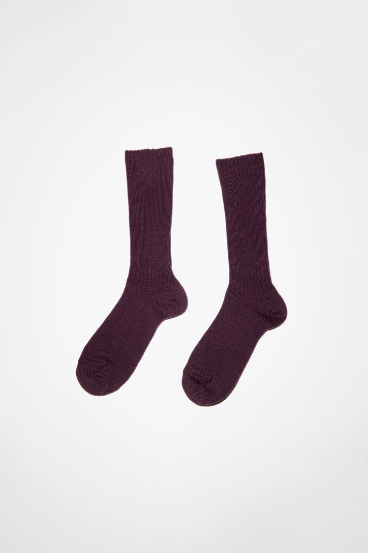 Image of Maria La Rosa Extrafine Merino Ribbed Sock in Purple