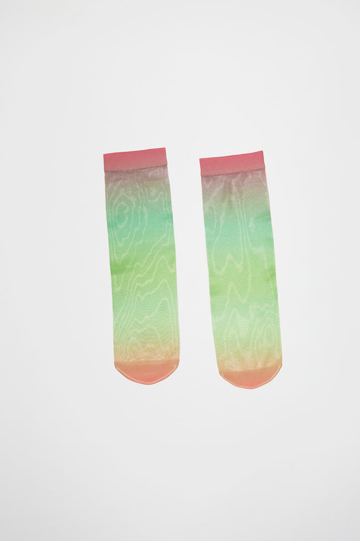 Image of Maria La Rosa Fluo Sheer Sock in Green Ombre