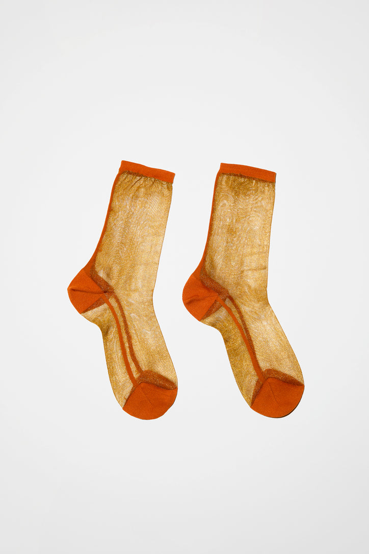 Image of Maria La Rosa Golf Sheer Sock in Gold