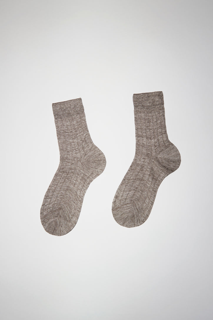 Image of Maria La Rosa Melange Ribbed Linen Sock in Light Brown