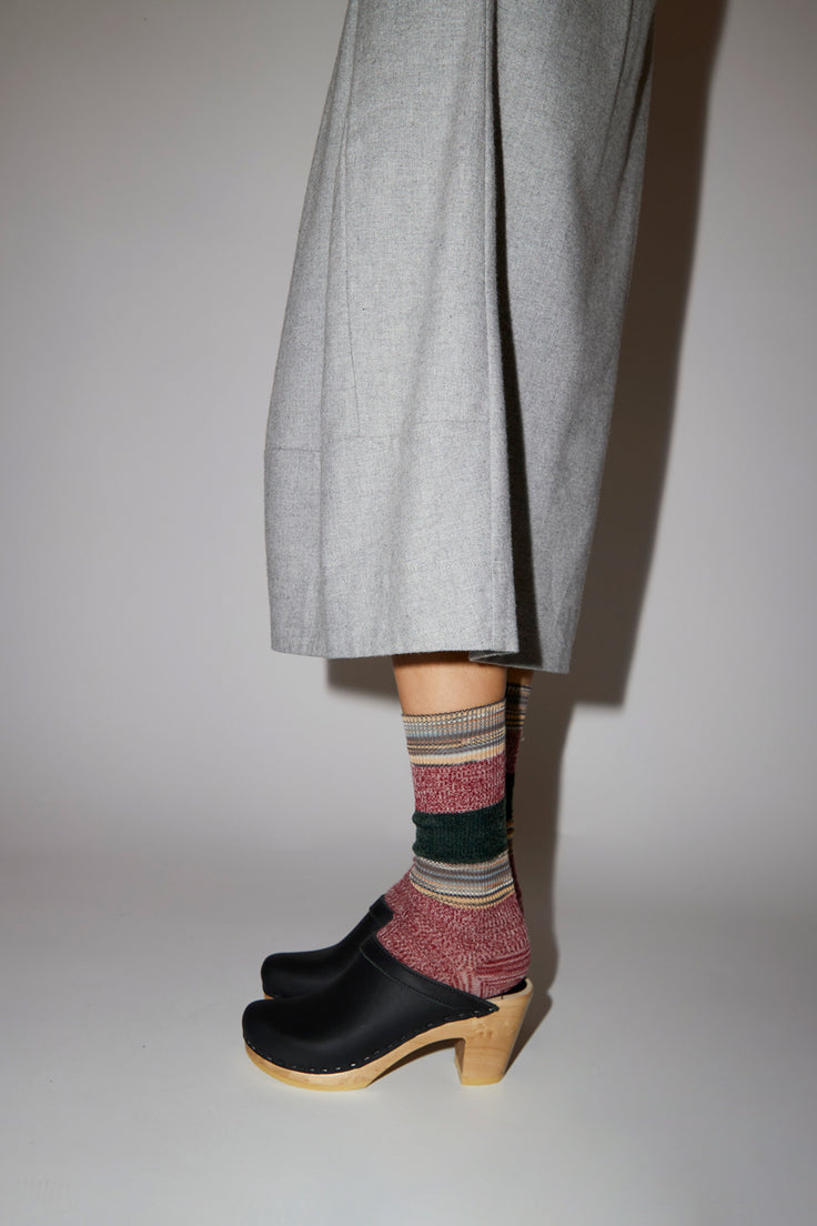 Image of Maria La Rosa Multi Stripe Sock in Red Combo