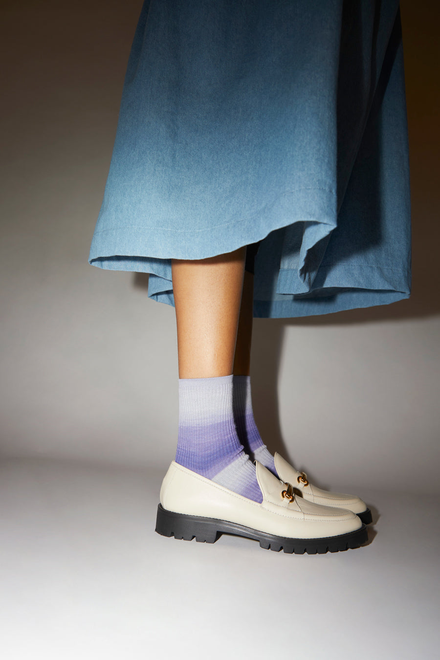 Maria La Rosa Ombre Wide Stripe Sock in Lilac
