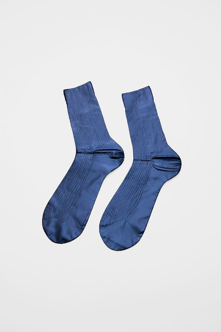 Image of Maria La Rosa Ribbed Laminated Sock in Blue and Navy