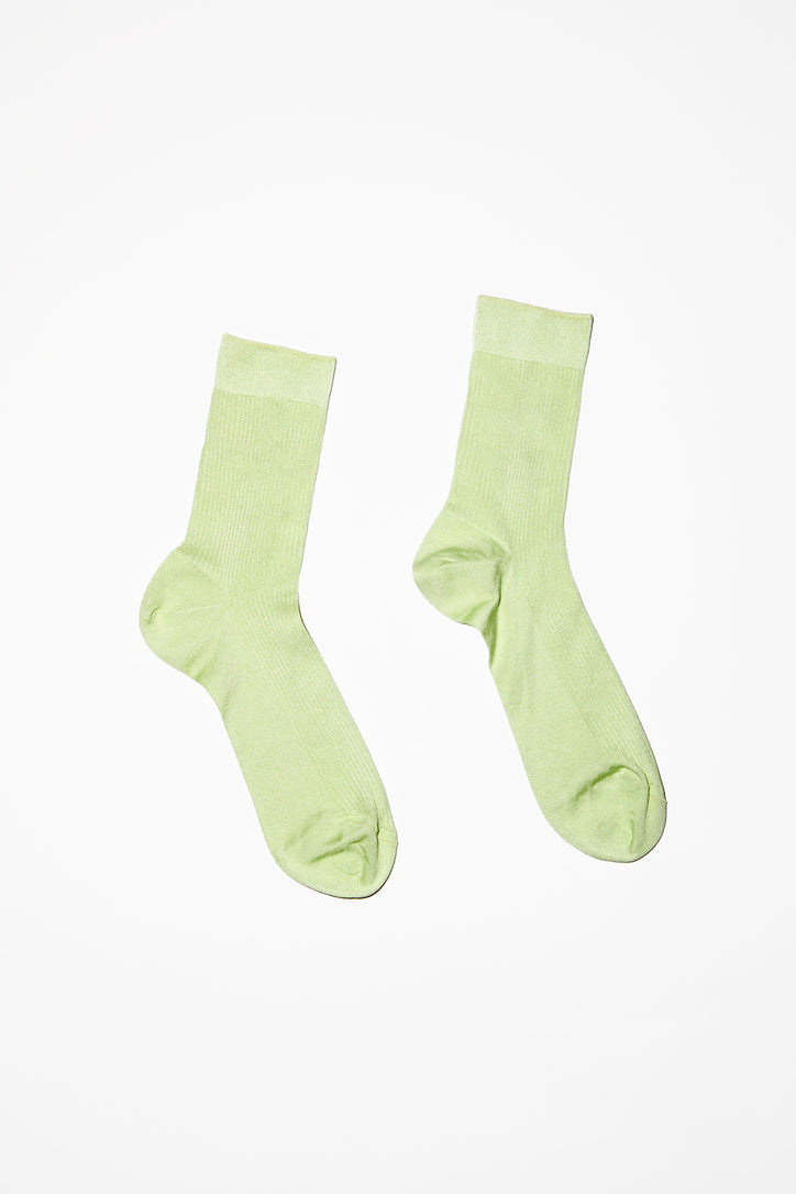Image of Maria La Rosa Silk Ribbed Ankle Sock in Baccello