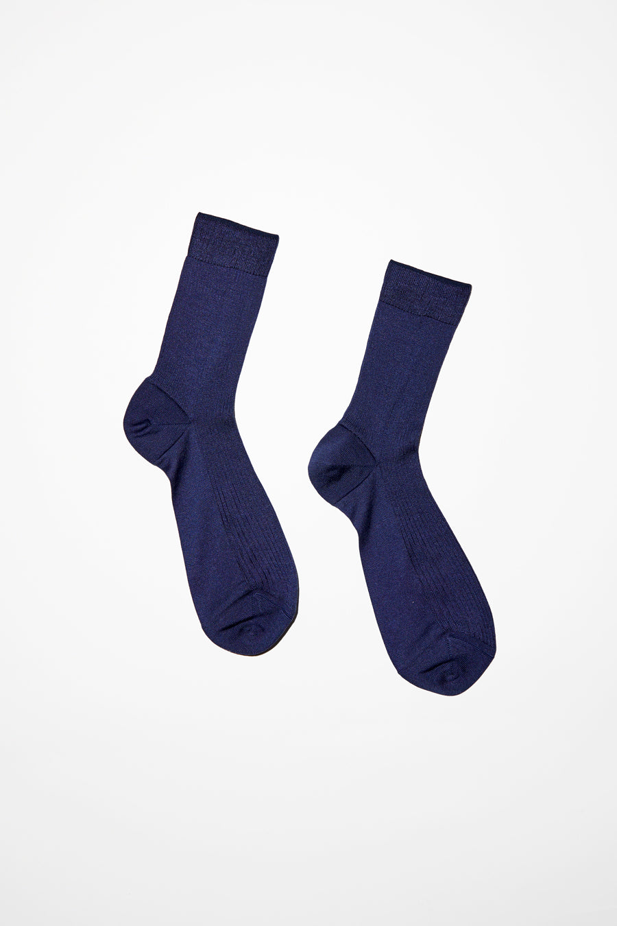 Maria La Rosa Silk Ribbed Ankle Sock in Blue