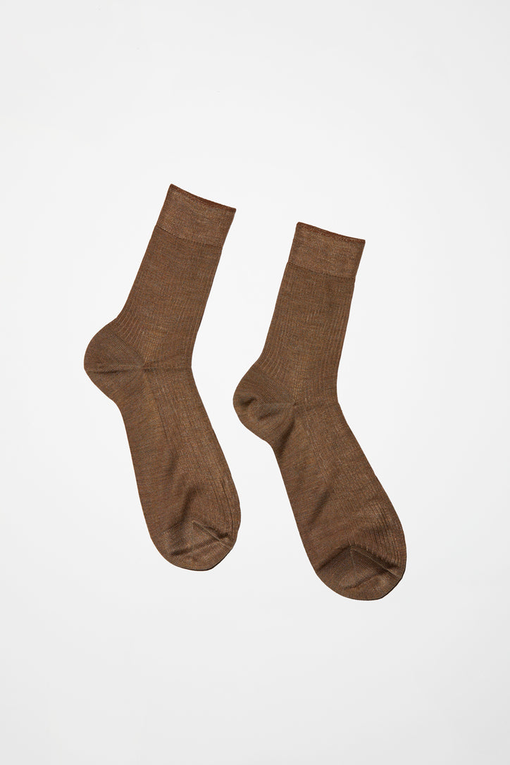 Image of Maria La Rosa Silk Ribbed Ankle Sock in Bruciato
