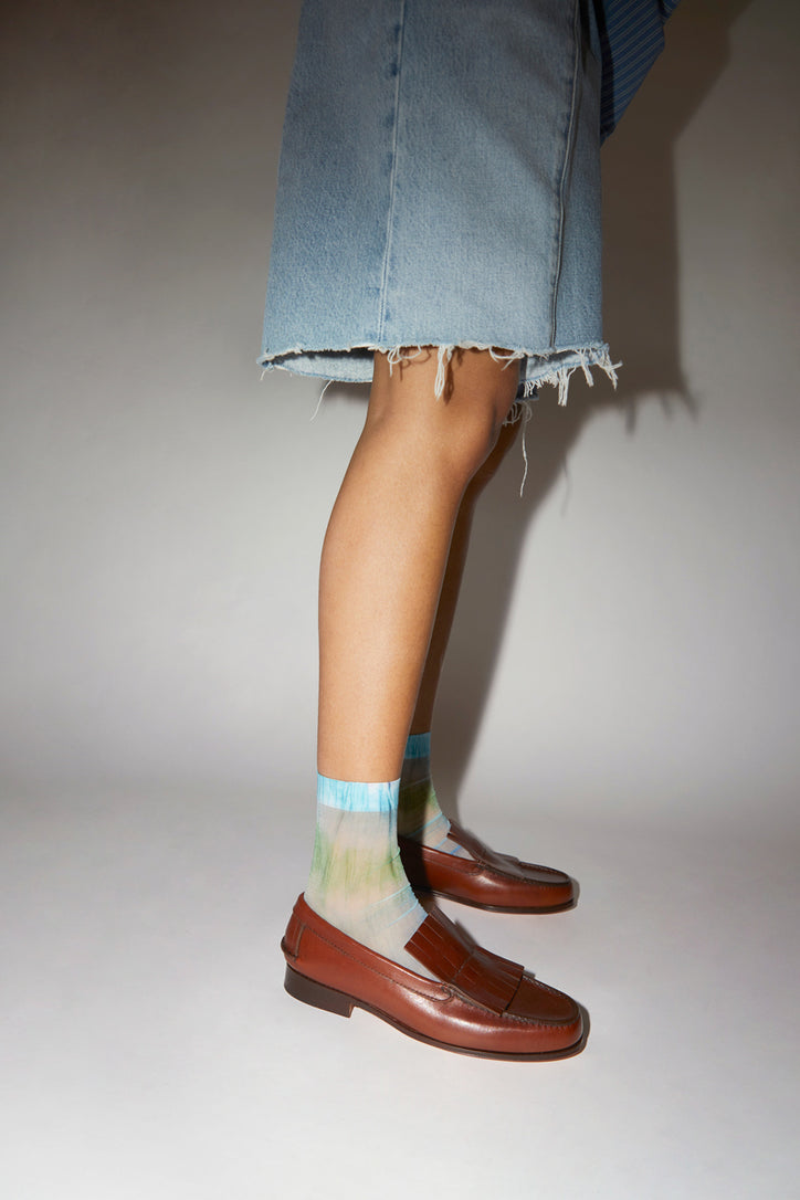 Image of Maria La Rosa Tie Dye Sock in Green and Blue