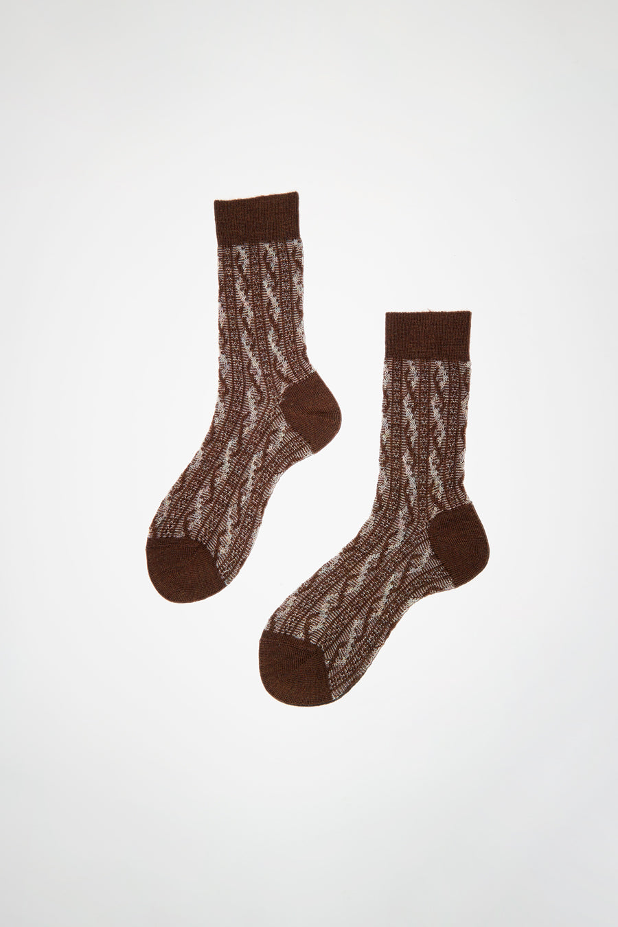 Maria La Rosa Two Tone Cable Patterned Sock in Camel