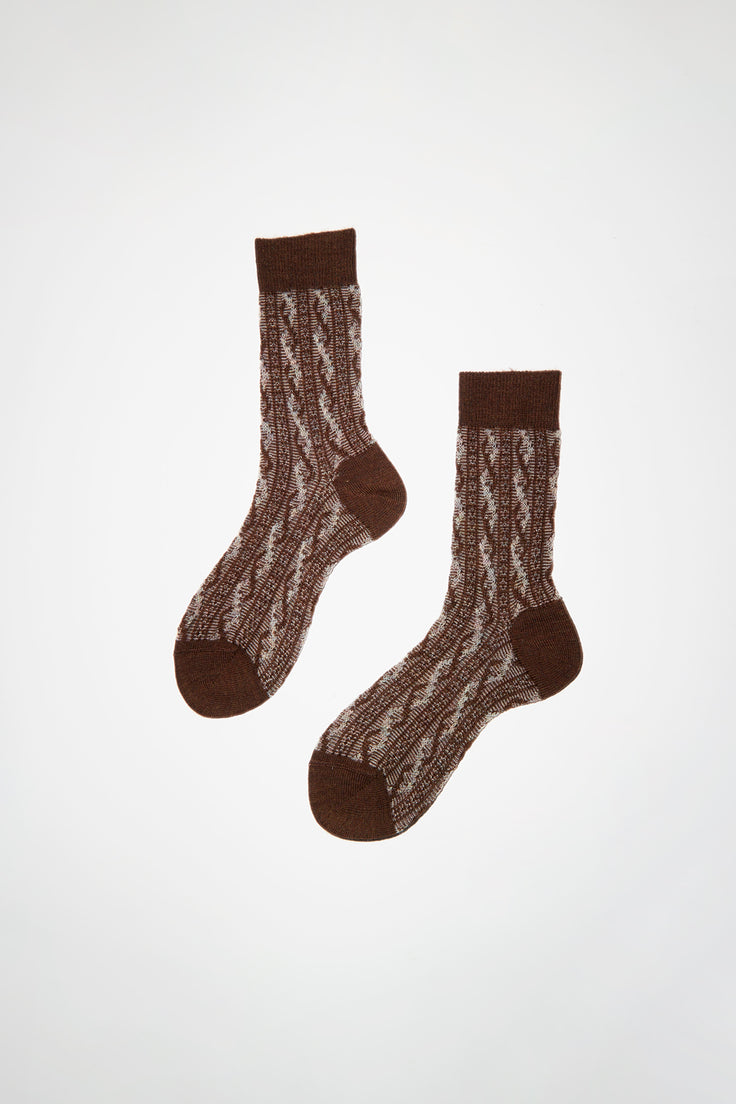 Image of Maria La Rosa Two Tone Cable Patterned Sock in Camel