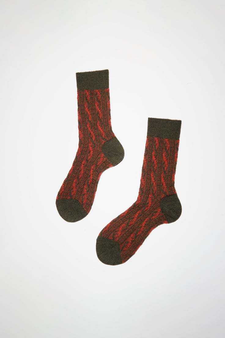 Image of Maria La Rosa Two Tone Cable Patterned Sock in Orange