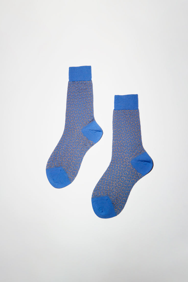 Image of Maria La Rosa Unisex Mid Calf Wool and Silk Patterned Sock in Sky