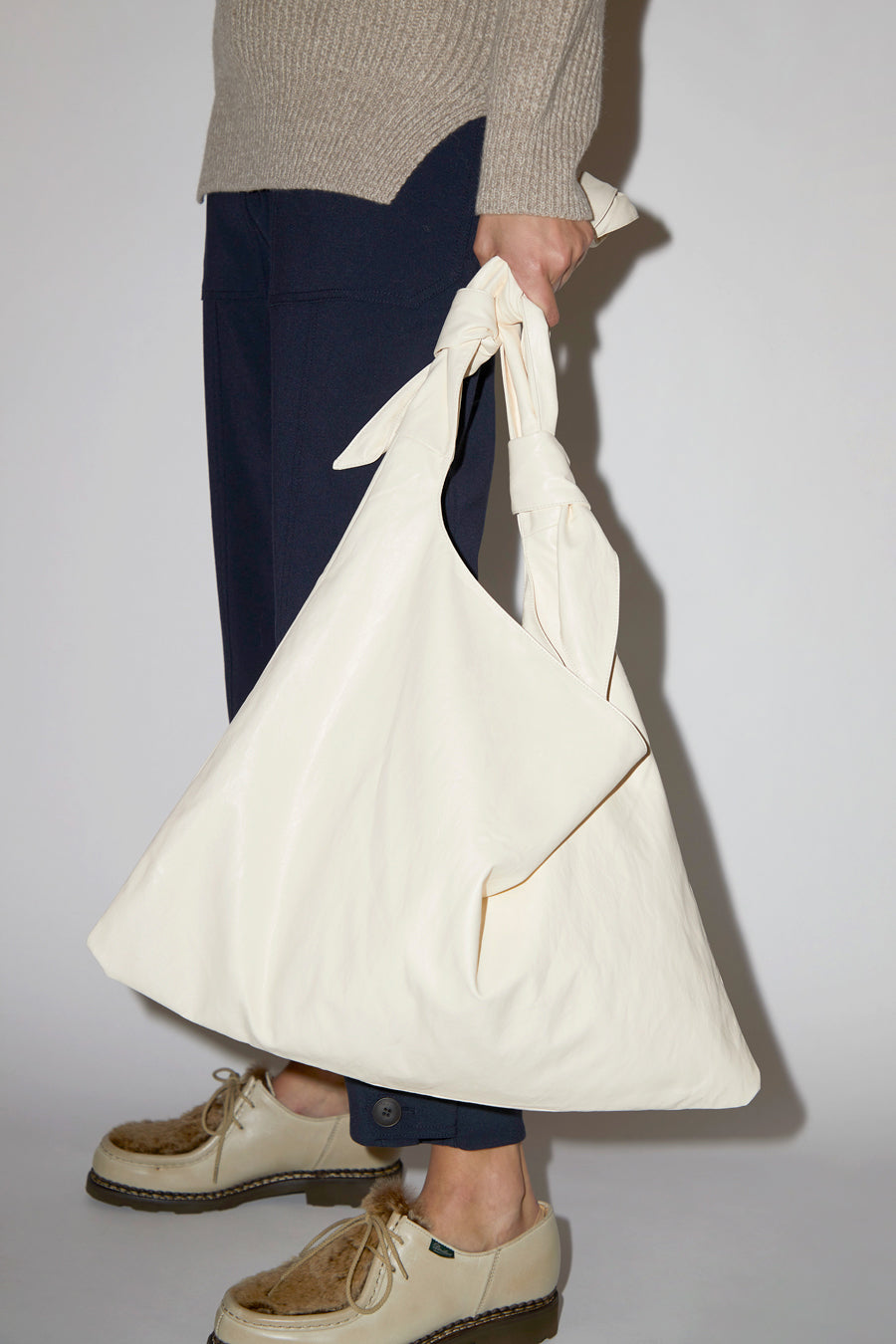 Mijeong Park Faux Leather Ollie Bag in Cream