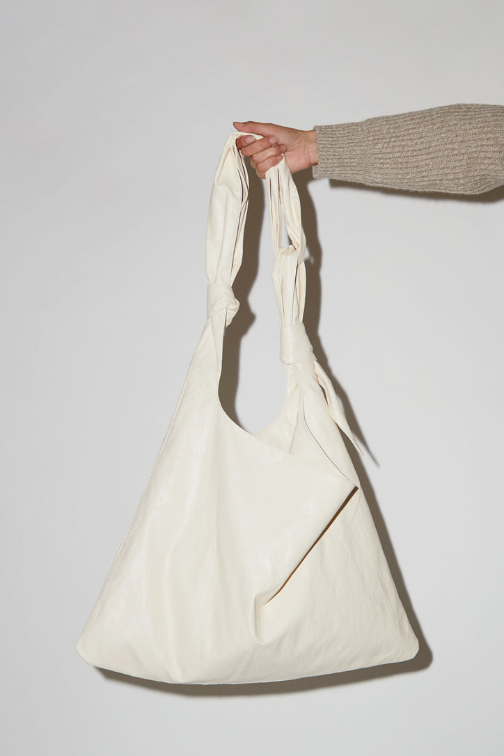 Image of Mijeong Park Faux Leather Ollie Bag in Cream