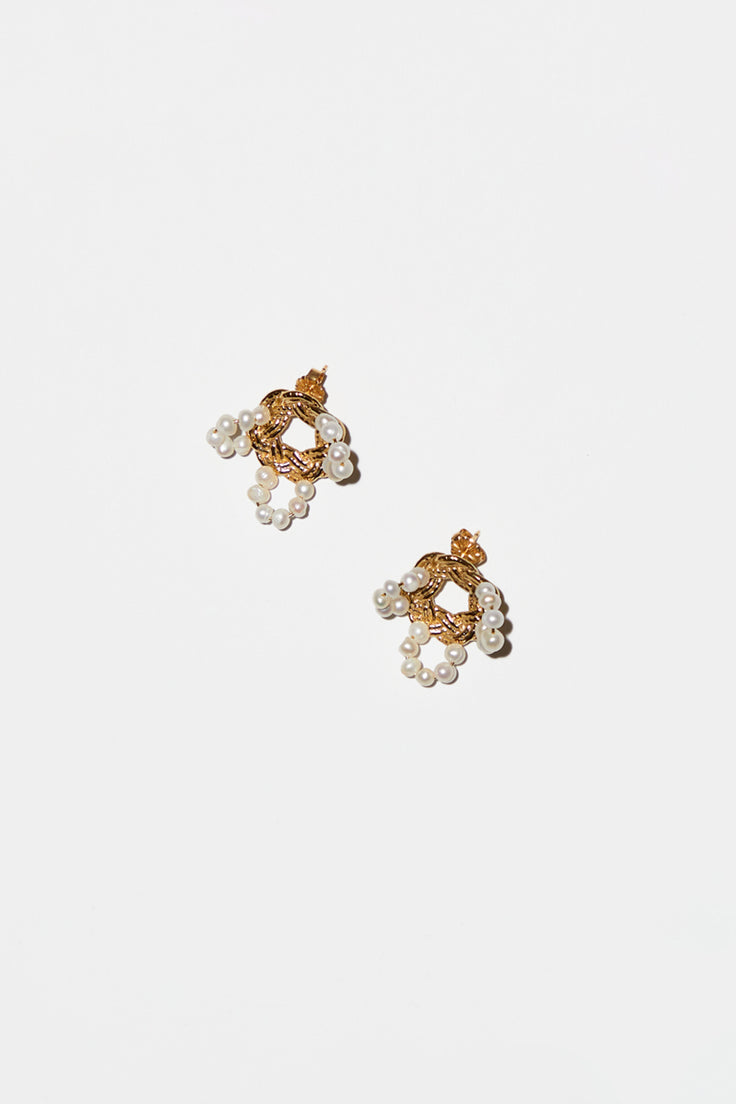 Image of Mirit Weinstock Mizuhiki and Pearls Petals Earrings in Gold Plate