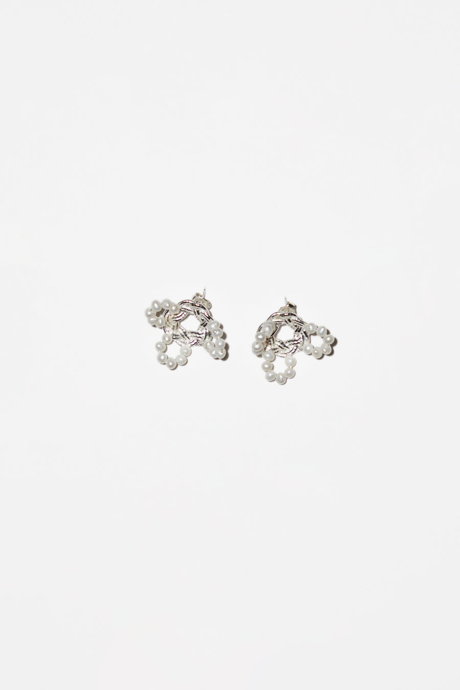 Mirit Weinstock Mizuhiki and Pearls Petals Earrings in Silver