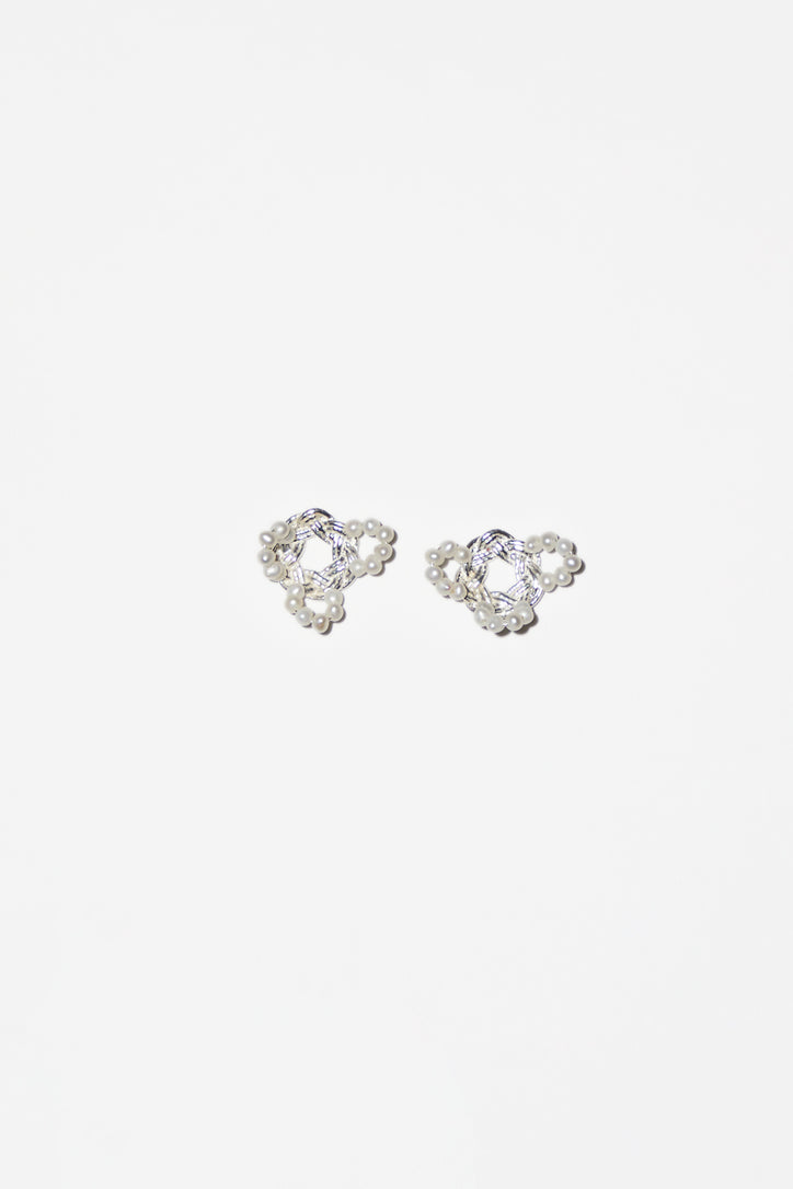 Image of Mirit Weinstock Mizuhiki and Pearls Petals Earrings in Silver