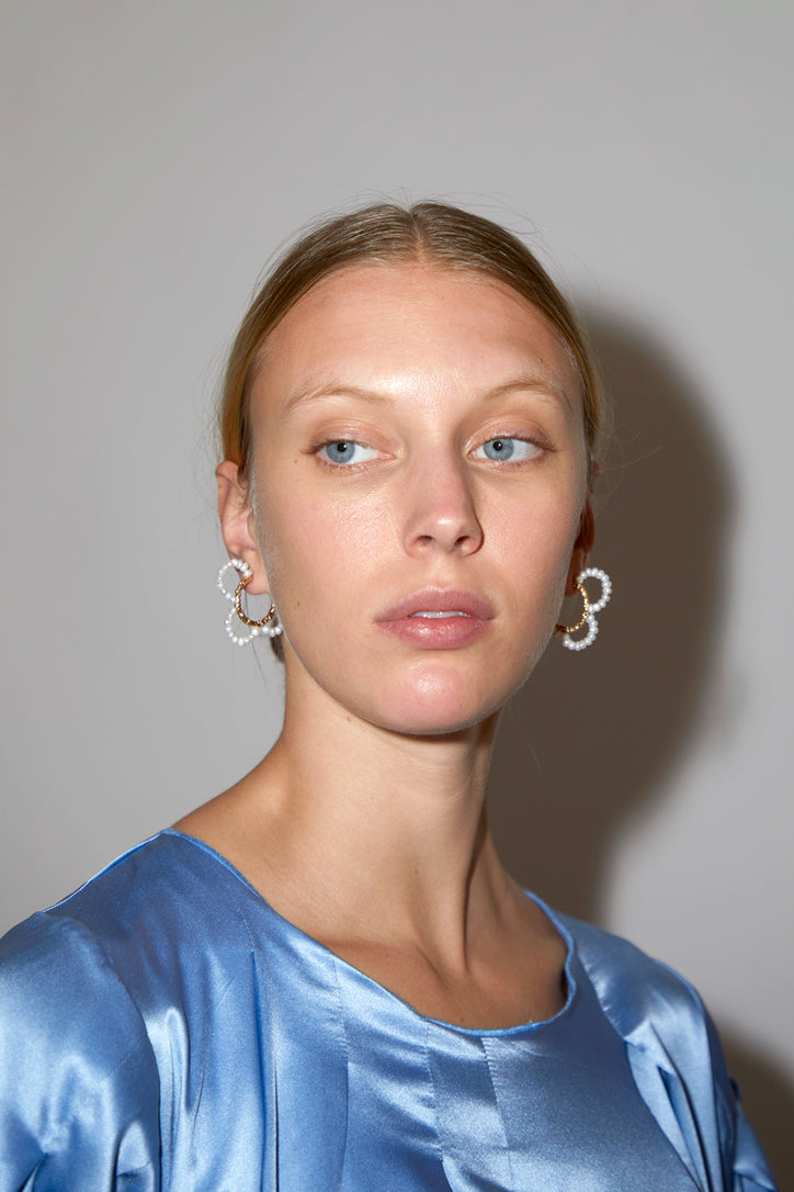 Image of Mirit Weinstock Pearls Petals Hoops in Gold Plate