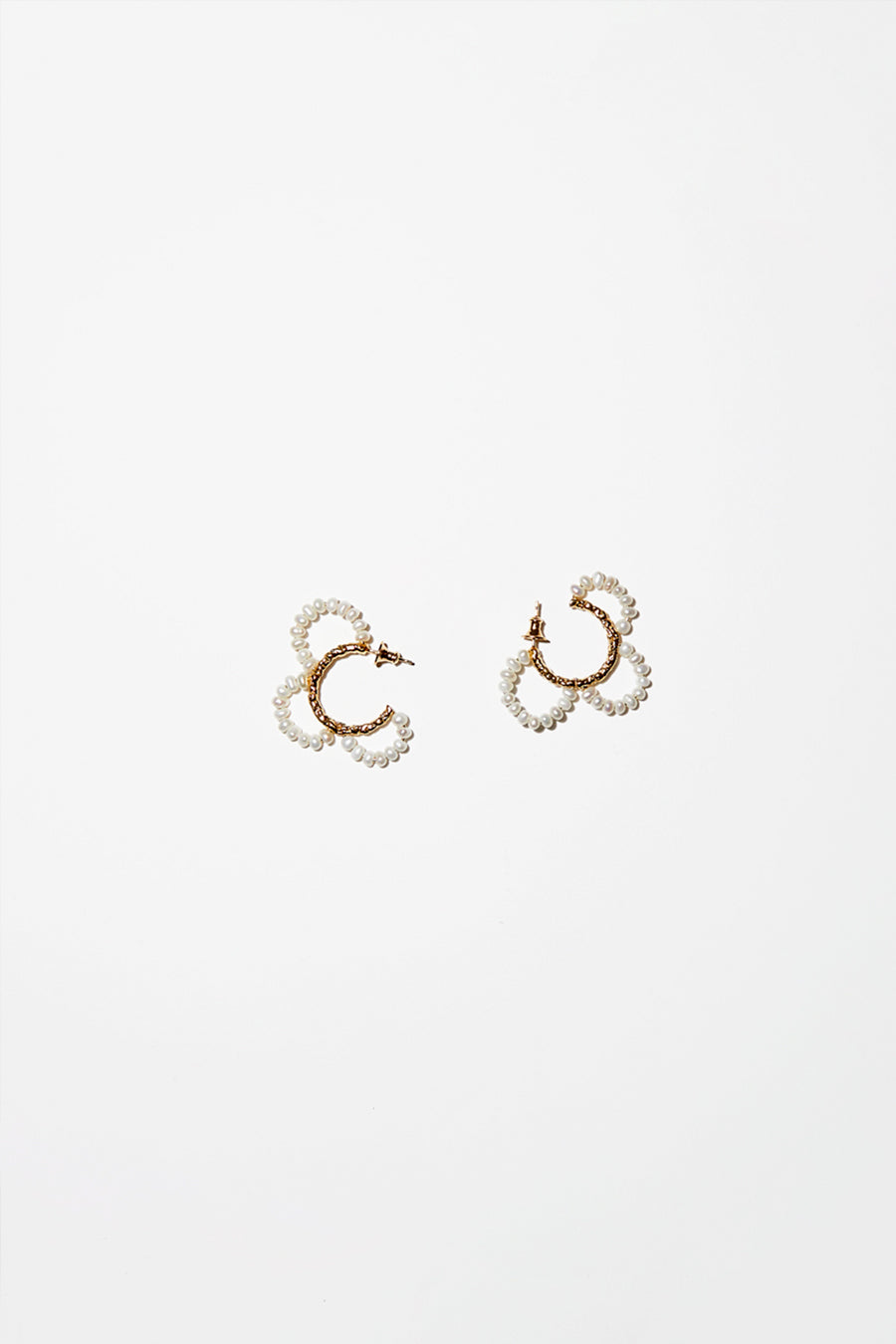 Mirit Weinstock Pearls Petals Hoops in Gold Plate