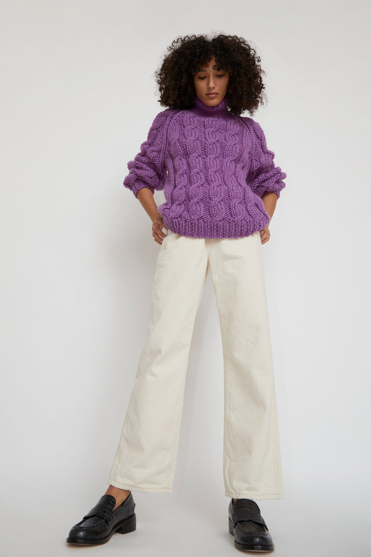 Image of Mirstores Cable Knit Roll Neck Sweater in Purple