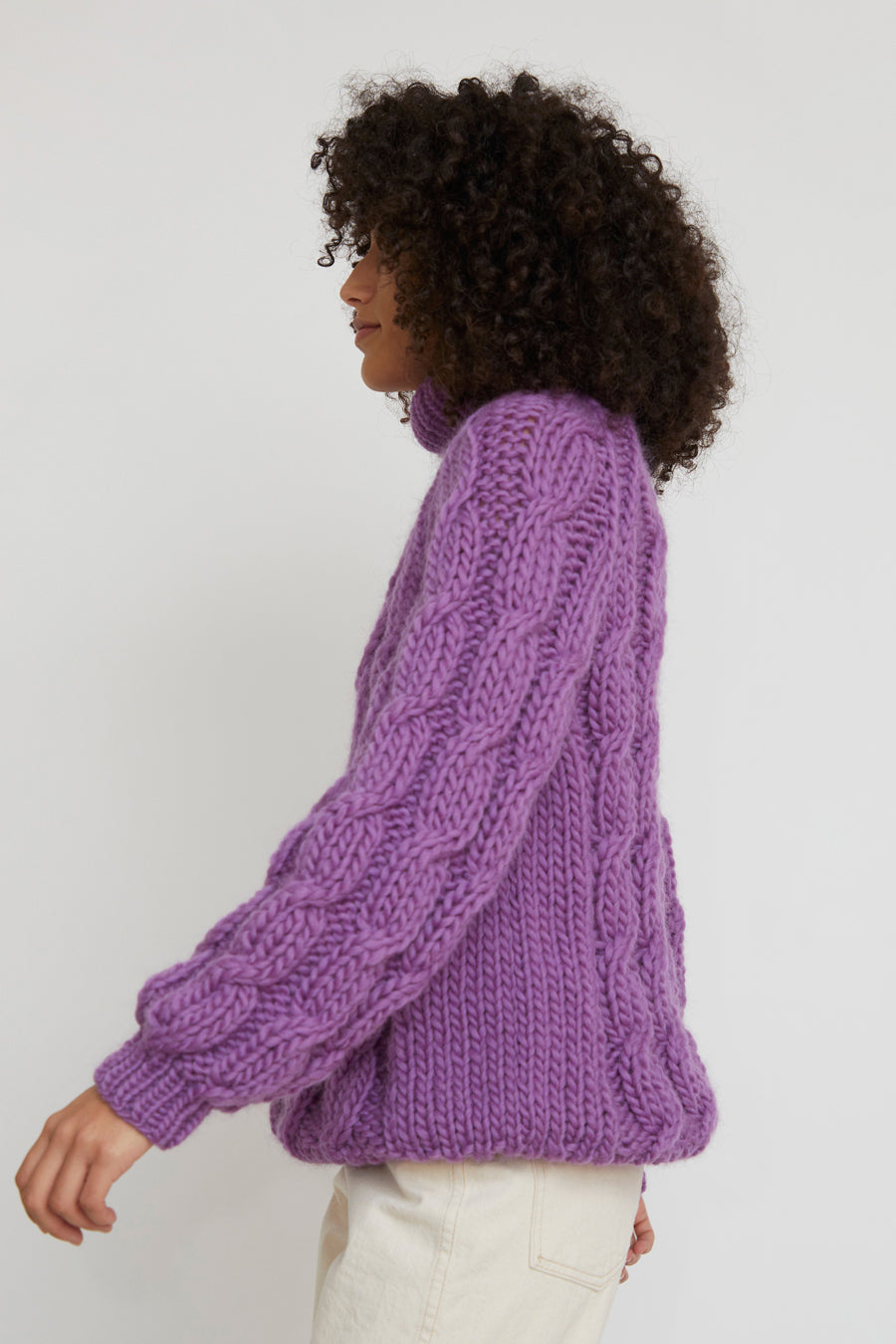 Mirstores Cable Knit Roll Neck Sweater in Purple