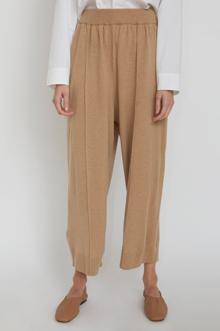 Image of Monica Cordera Cashmere Knit Pants in Camel