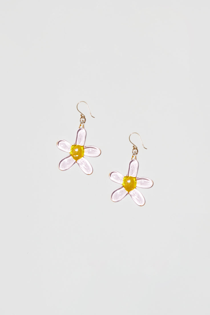Image of Ninfa Daisy Hook Earrings in Pink