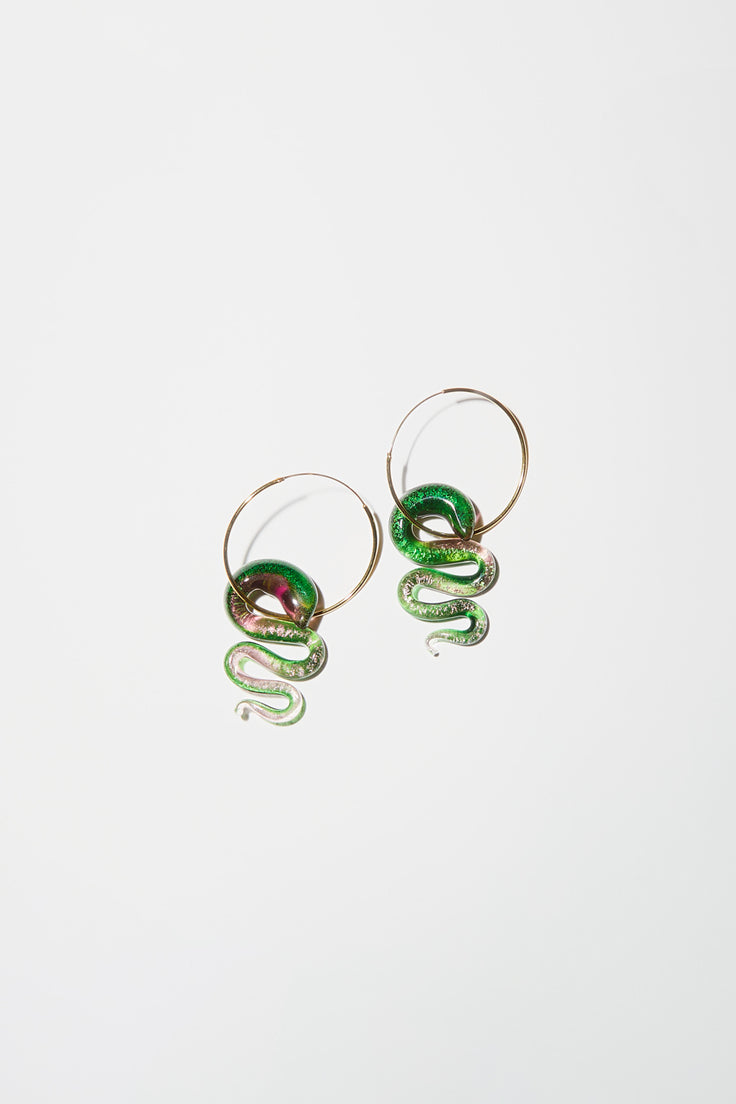 Image of Ninfa Earth Snake Large Hoop Earrings