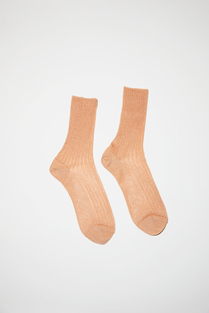 Image of No.6 Ribbed Lurex Sock in Camel