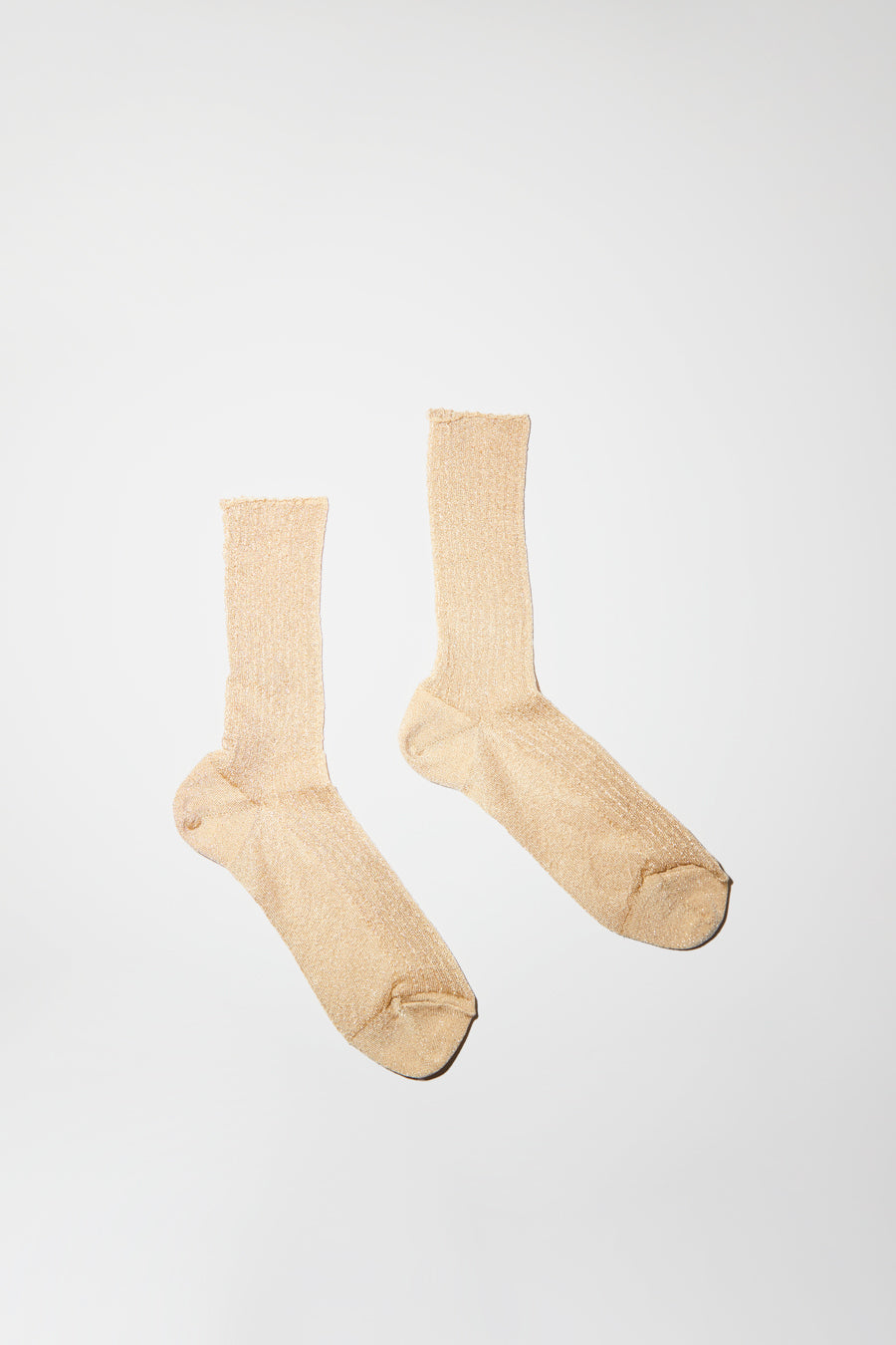 No.6 Ribbed Lurex Sock in Cream