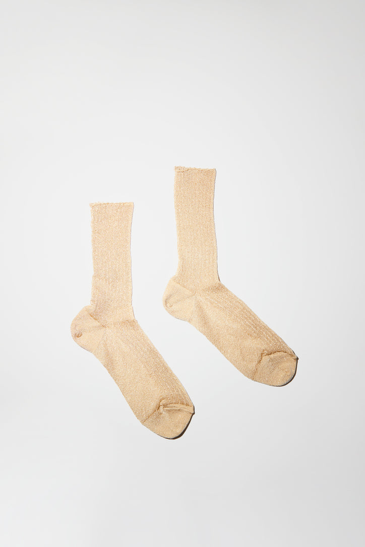 Image of No.6 Ribbed Lurex Sock in Cream