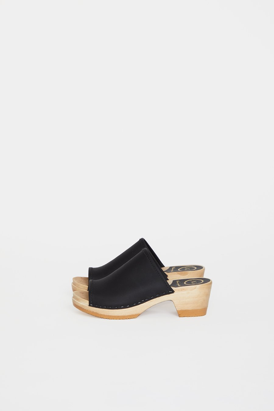 No.6 Daria Clog on Mid Heel in Black