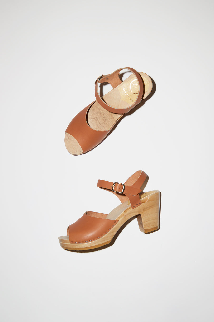 No.6 Erika Clog on High Heel in Caramel