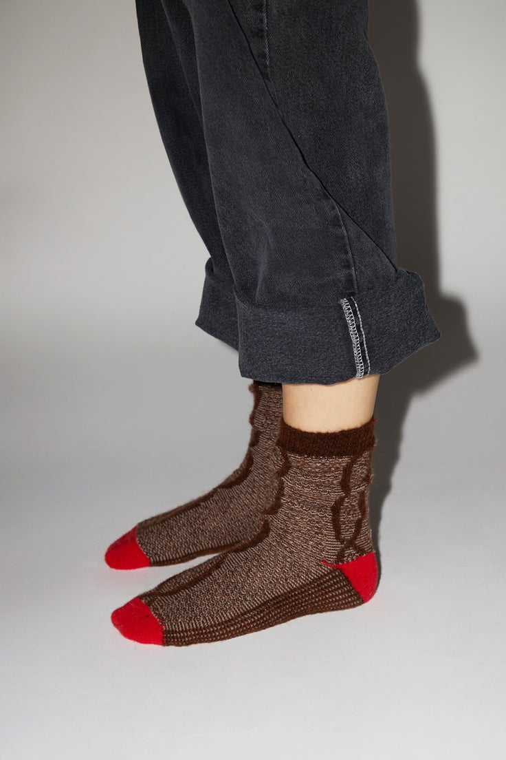 Image of No.6 Mohair Cable Knit Sock in Brown and Red