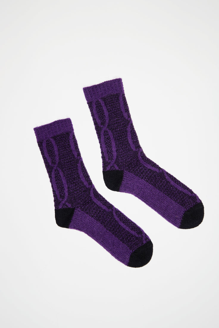 Image of No.6 Mohair Cable Knit Sock in Purple and Black