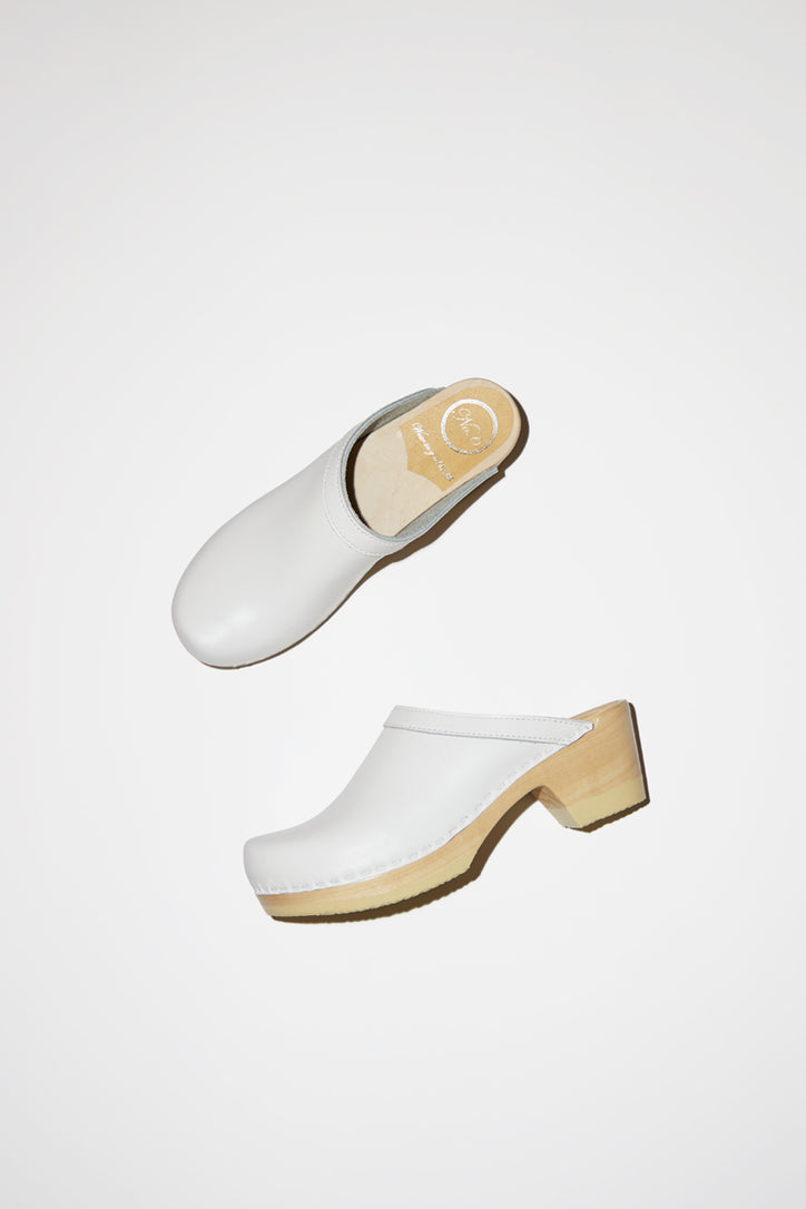 Image of No.6 Old School Clog on Mid Heel in White on White Base