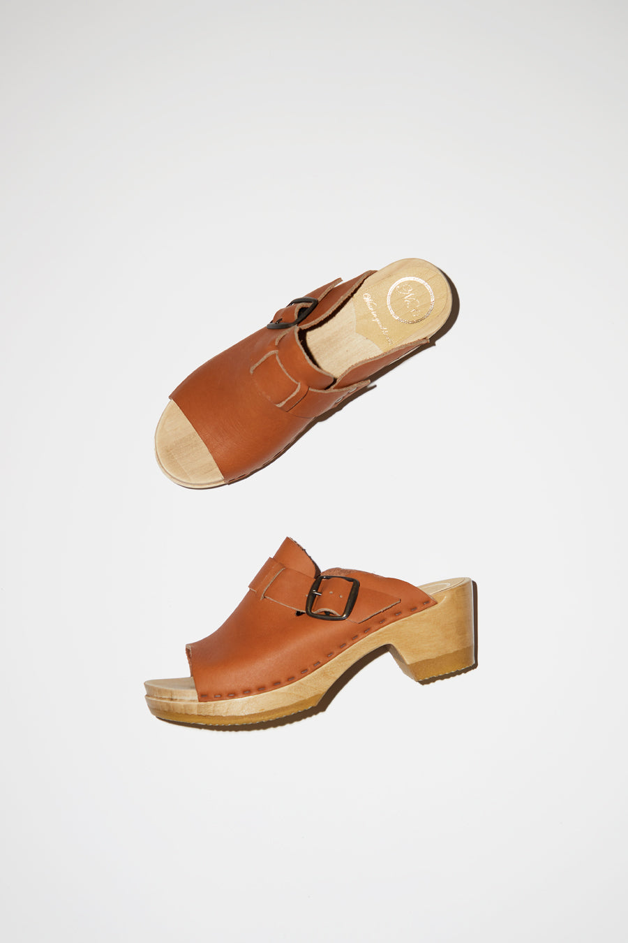 No.6 Riley Open Toe Clog on Mid Heel in Caramel