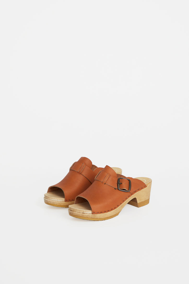 Image of No.6 Riley Open Toe Clog on Mid Heel in Caramel