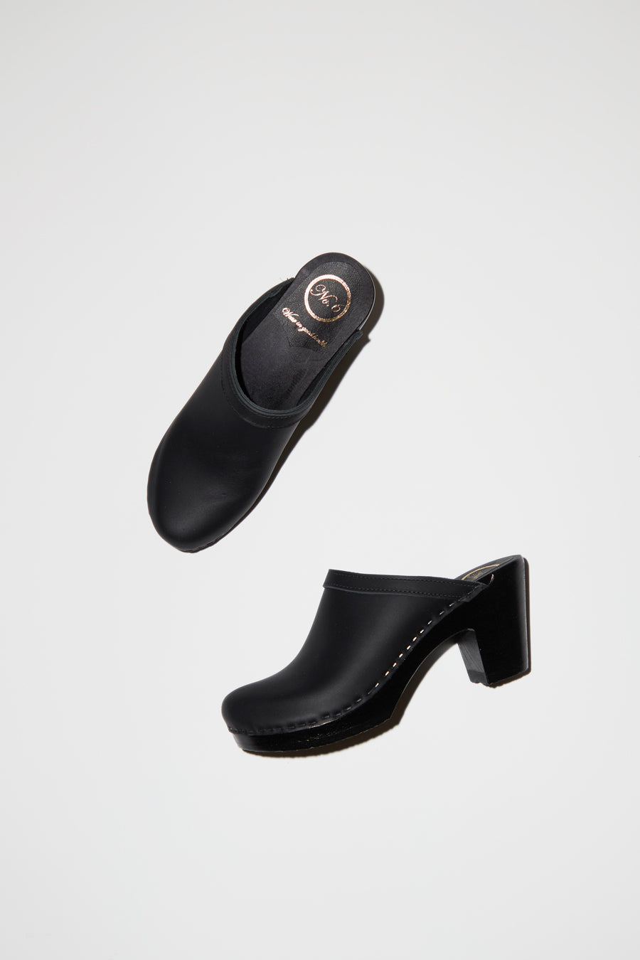 No.6 Old School Clog on High Heel in Black on Black Base