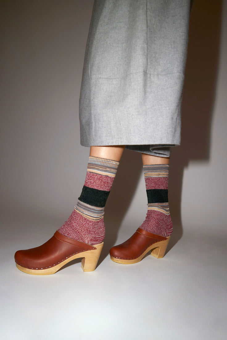 Image of No.6 Old School Clog on High Heel in Bourbon