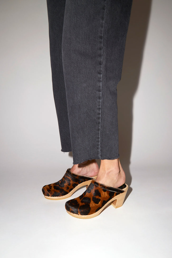Image of No.6 Old School Clog on High Heel in Luxe Leopard Pony