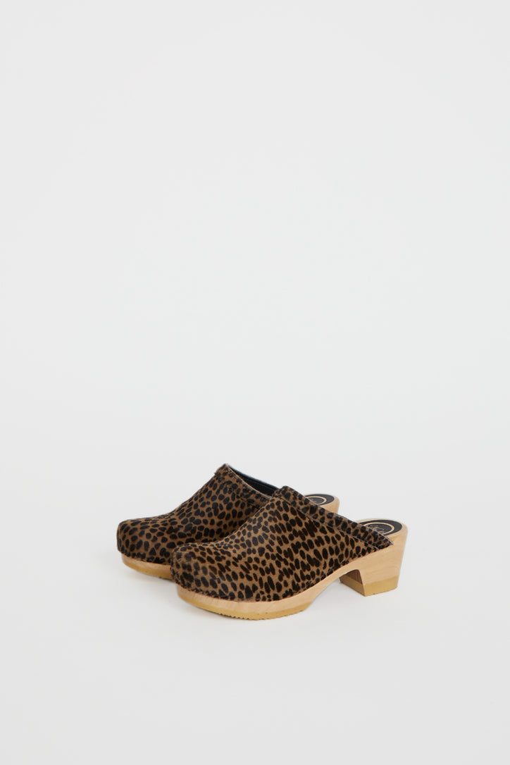 Image of No.6 Old School Clog on Mid Heel in Spotted Pony