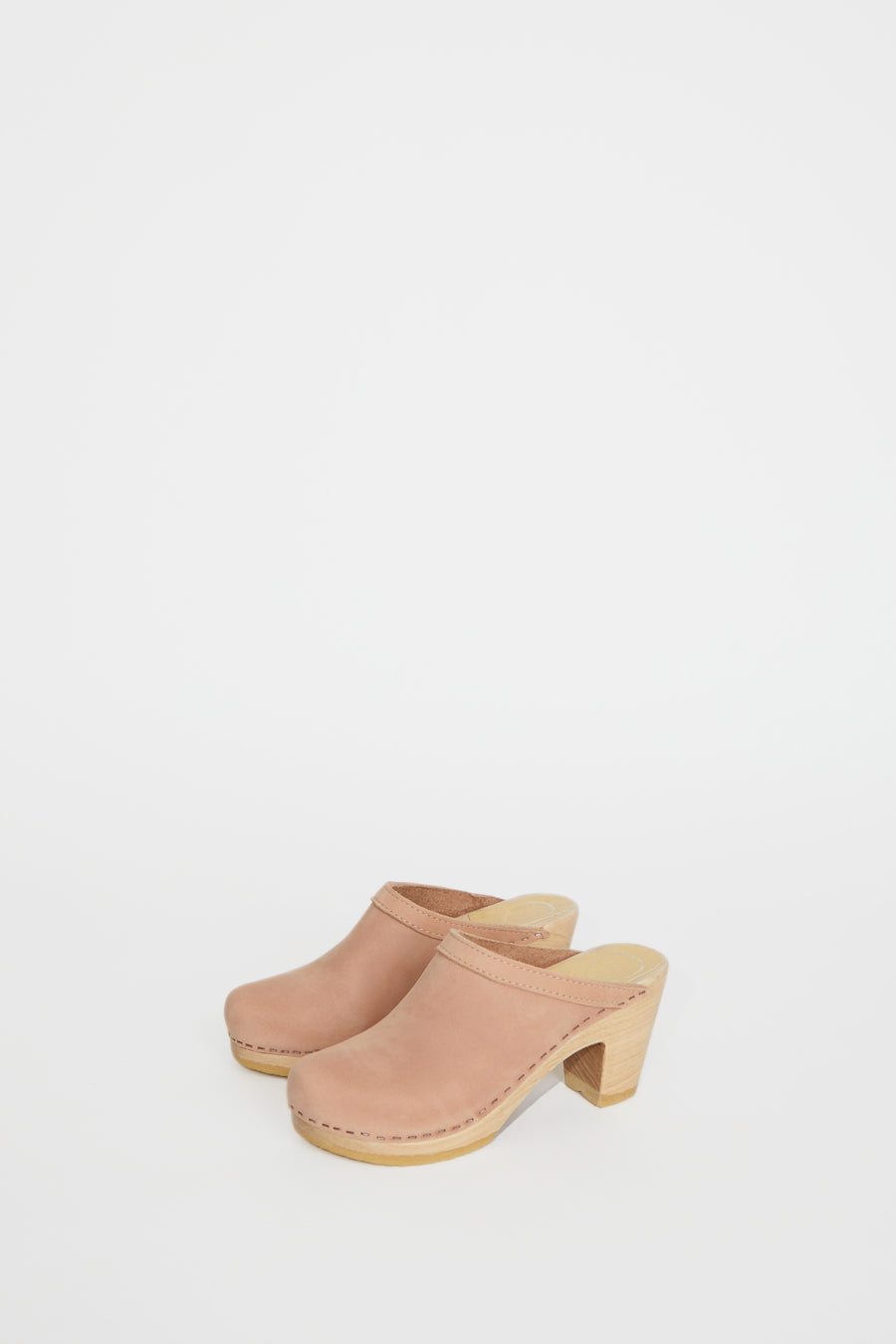 No.6 Old School Clog on High Heel in Pink Sand