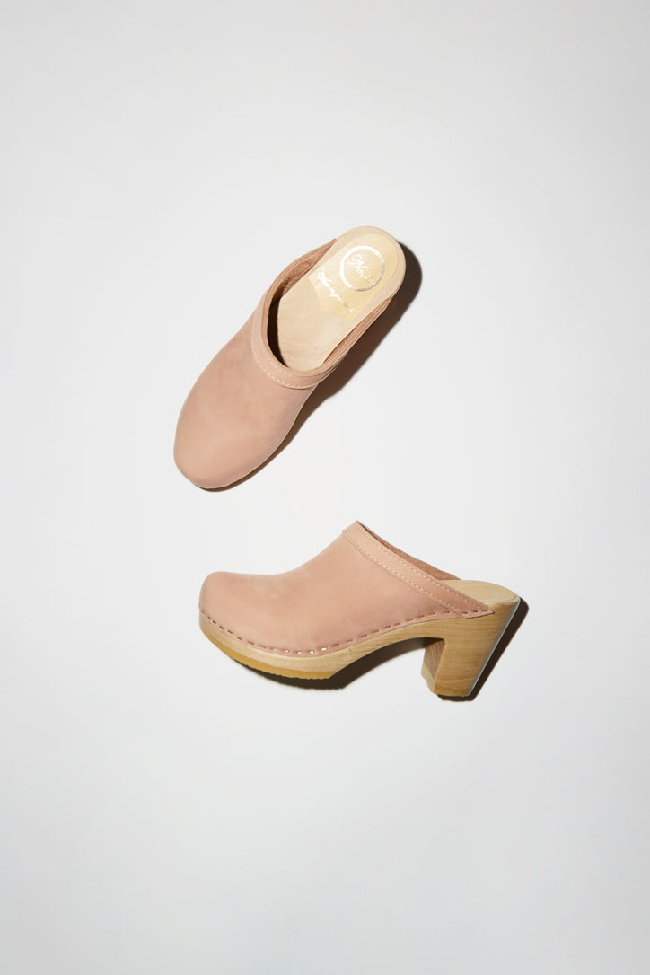 Image of No.6 Old School Clog on High Heel in Pink Sand