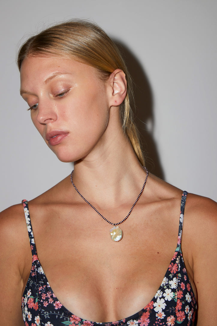 Image of Santangelo Domingo Necklace in Pink and Black Stripe