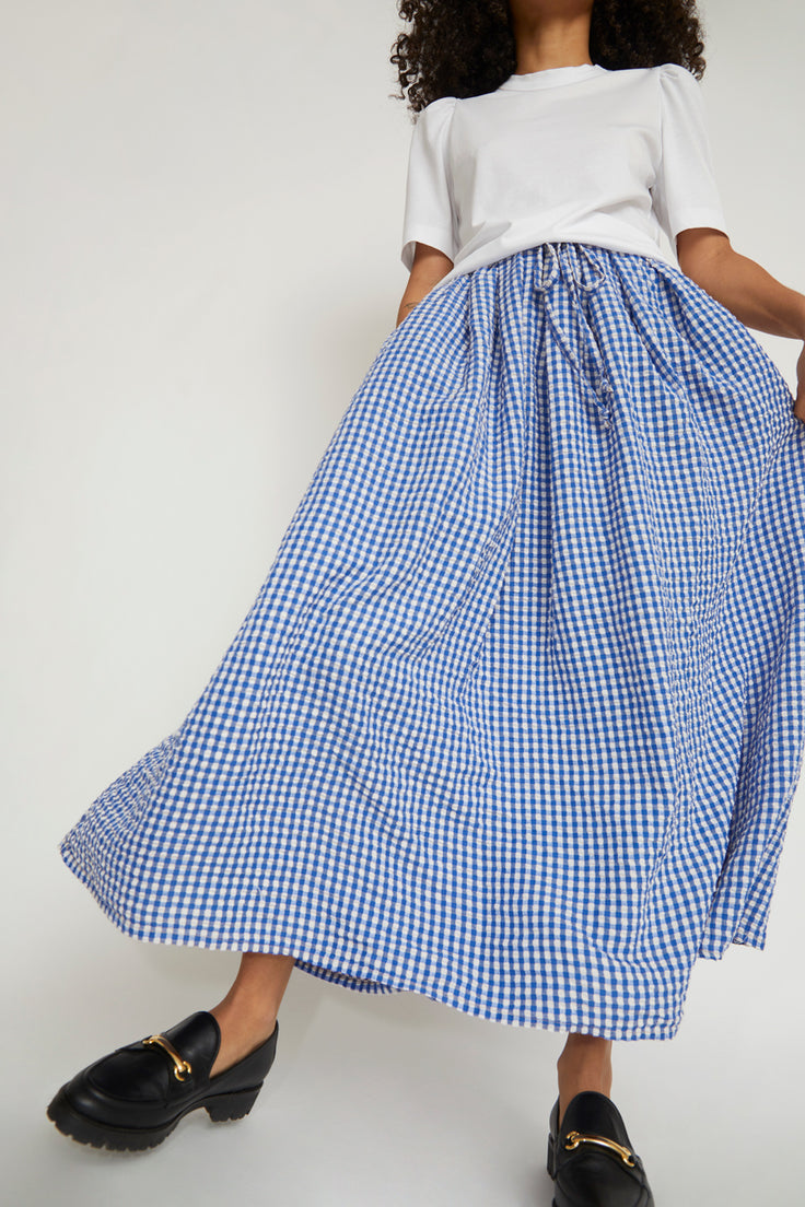 Image of Sultan Wash Juppy Skirt Vichy in French Blue