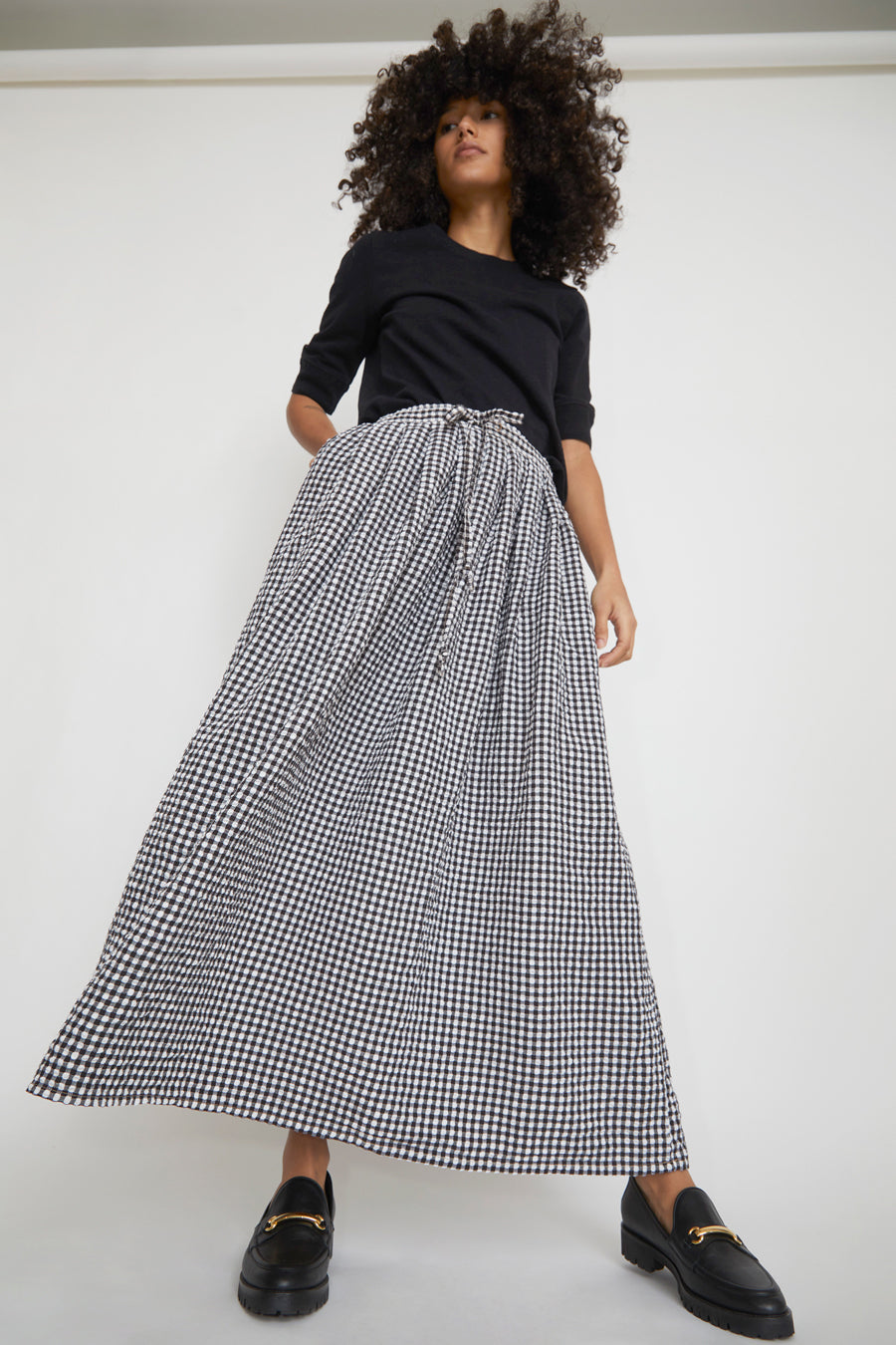 Sultan Wash Juppy Skirt Vichy in Noir
