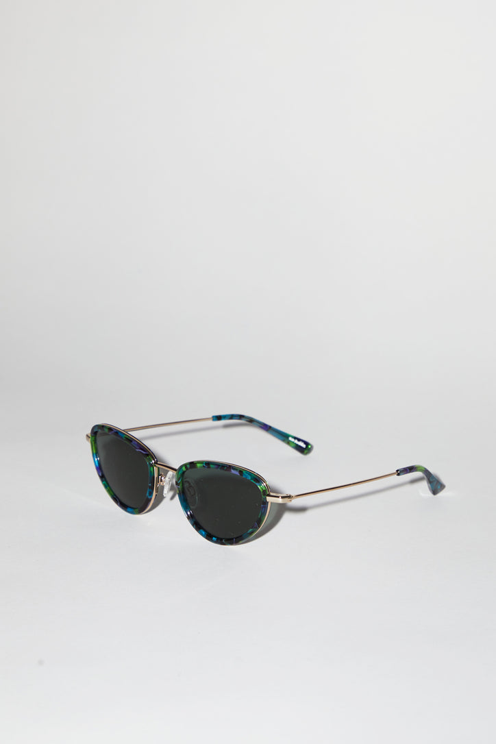 Image of Sun Buddies Left Eye Sunglasses in Gold and Aurora Borealis