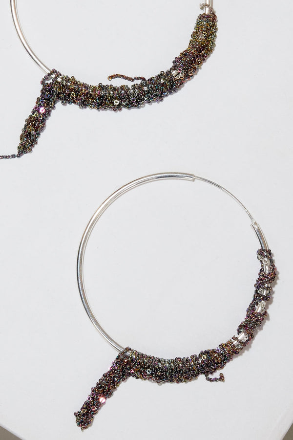 Arielle de Pinto Waning Hoops in Silver with Spectrum
