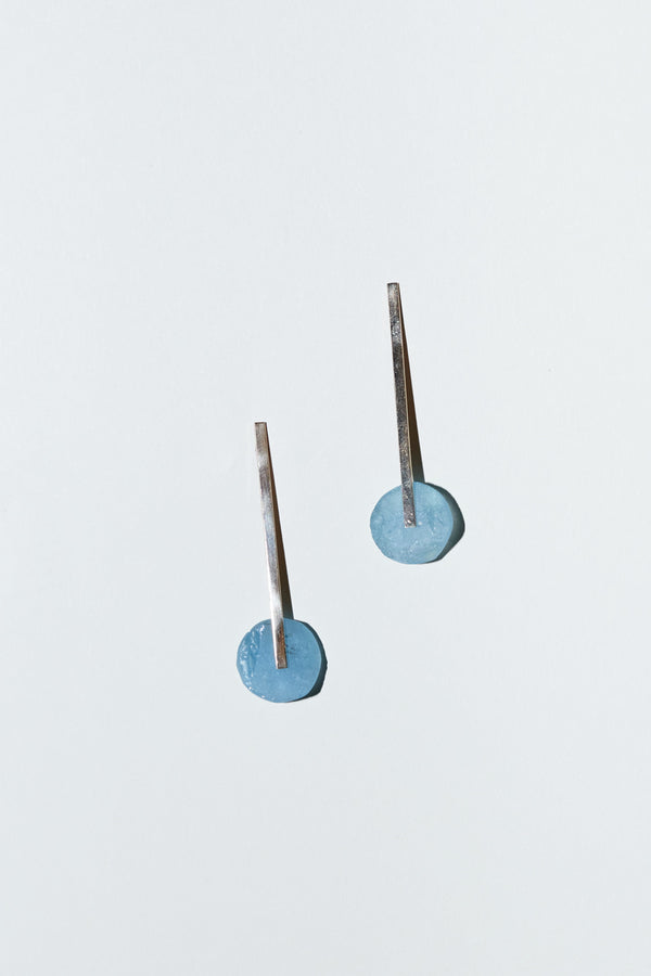 "AESA Swingtime Earrings in Aquamarine and 1.9"" 14K Gold Stems"